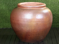 Extra Large Round Brown Planter with Rim